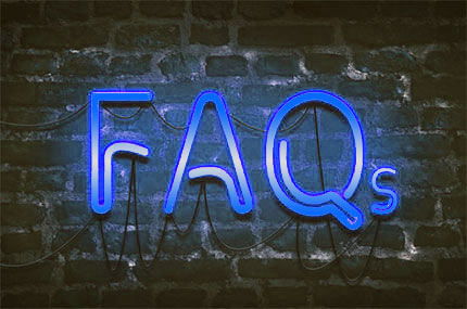 FAQ in blue neon